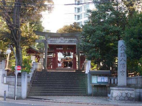 渋谷城の中にあった神社が今も金王八幡宮としてご鎮座しているにゃん